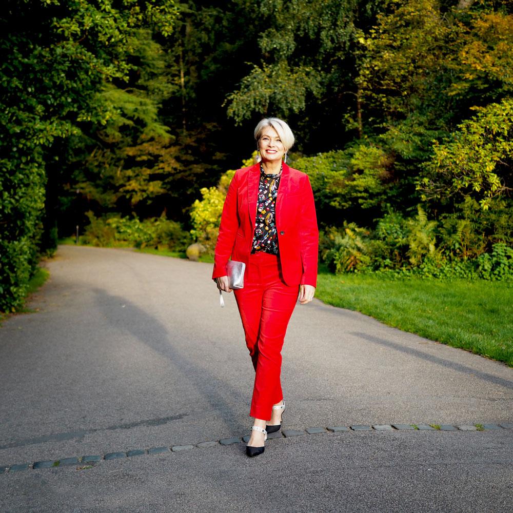 Midlifechic red velvet trouser suit, Boden
